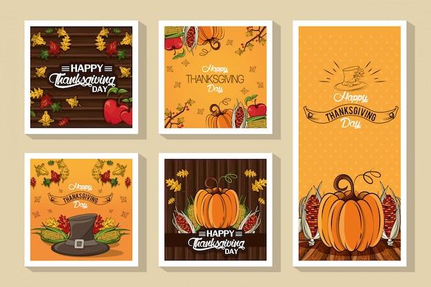 Feliz día de acción de gracias paquete de tarjetas