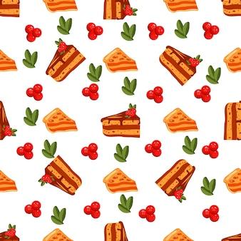 Feliz día de acción de gracias de patrones sin fisuras con tortas dulces