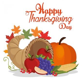 Feliz día de acción de gracias postal frutas vegetales hojas otoño