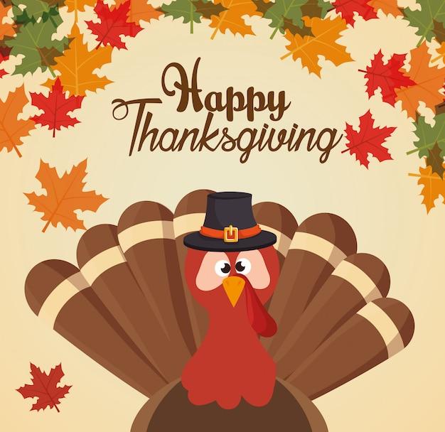 Feliz día de acción de gracias saludo tarjeta turket personalizado y hojas