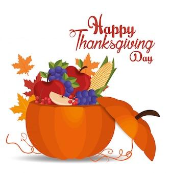 Feliz día de acción de gracias tarjeta calabaza llena de frutas