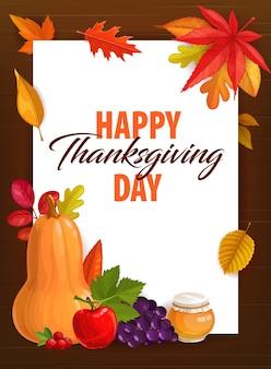 Feliz día de acción de gracias tarjeta de felicitación con calabaza de cosecha de otoño, miel, manzana y uvas con arándano y hojas caídas de arce, roble y olmo.