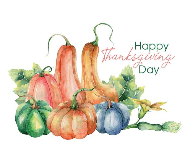 Feliz día de acción de gracias tarjeta de felicitación con calabazas
