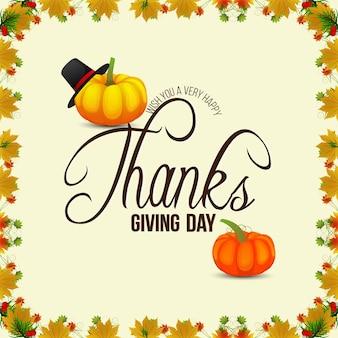 Feliz día de acción de gracias tarjeta de felicitación de celebración