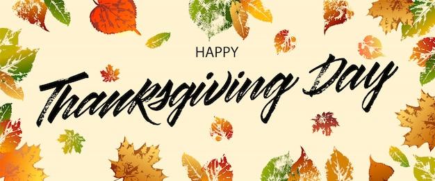 Feliz día de acción de gracias tarjeta de felicitación. letras feliz día de acción de gracias