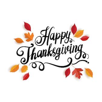 Feliz día de acción de gracias tarjeta de felicitación con letras y hojas