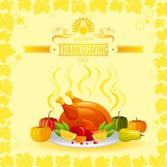 Feliz día de acción de gracias tarjeta de felicitación con pavo asado, calabaza, manzana y marco de hojas de viñedo.