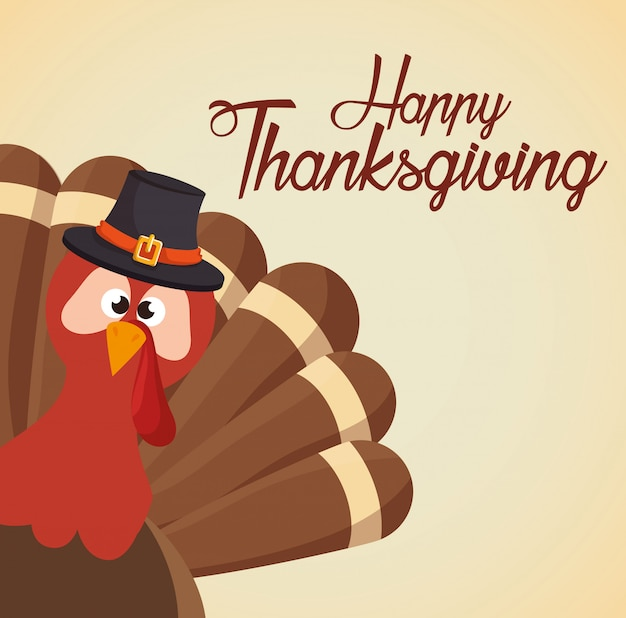 Feliz día de acción de gracias tarjeta gracioso pavo