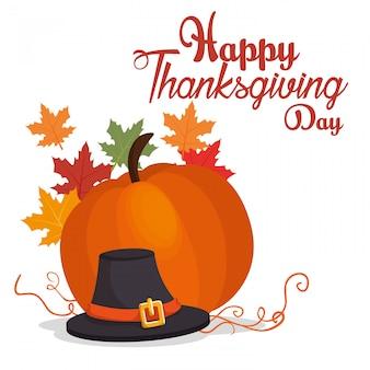 Feliz día de acción de gracias tarjeta gran calabaza sombrero hoja