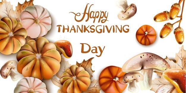 Feliz día de acción de gracias tarjeta de otoño