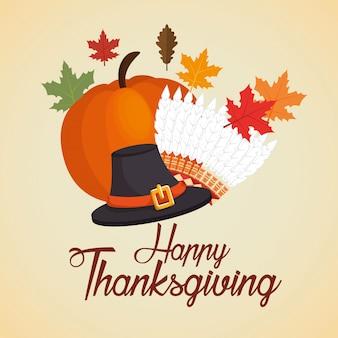 Feliz día de acción de gracias tarjeta sombrero calabaza hojas de otoño