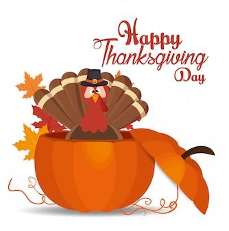 Feliz día de acción de gracias tarjeta sombrero de pavo calabaza