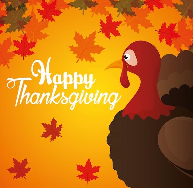 Feliz día de acción de gracias tarjeta turquía otoño fondo