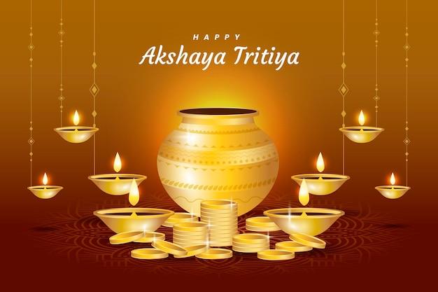 Feliz día akshaya tritiya con símbolos de la abundancia