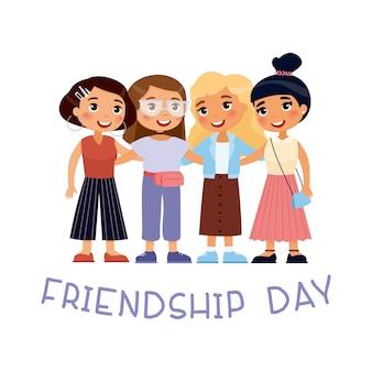 Feliz día de la amistad. cuatro jóvenes chicas lindas abrazos. personaje de dibujos animados divertidos con tipografía. concepto de amistad femenina. ilustración aislada sobre fondo blanco