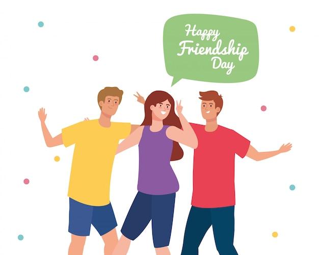 Feliz día de la amistad, hombres jóvenes con mujer, entusiasmo por la amistad, alegre risa de felicidad