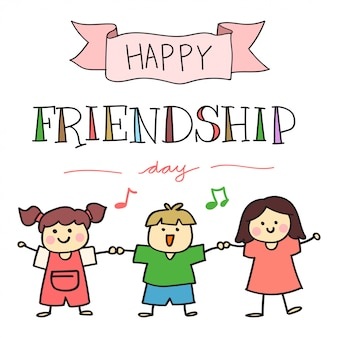 Feliz día de la amistad, con ilustración de niños dibujados a mano