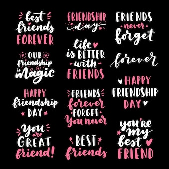 Feliz día de la amistad lindo conjunto grande de letras a mano.