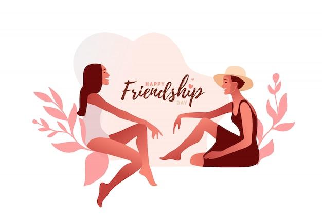 Feliz día de la amistad tipo. dos chicas modelo con estilo cotilleando ilustración. una chica emocionada susurra secretos privados o rumores a su amiga. pastel de colores pálidos.