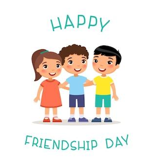 Feliz día de la amistad tres niños internacionales abrazándose