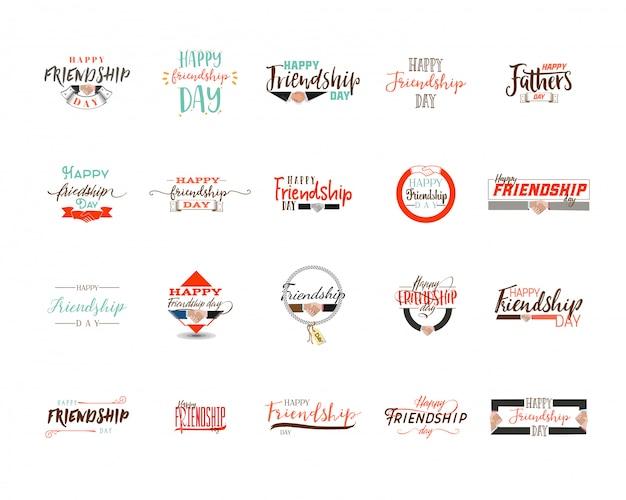 Feliz día de la amistad. vector de diseño colorido tipográfico. insignias