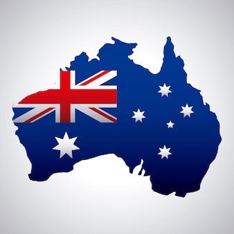Feliz día de australia con bandera en el mapa