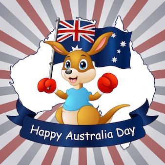 Feliz día de australia canguro sosteniendo una bandera en el fondo del mapa