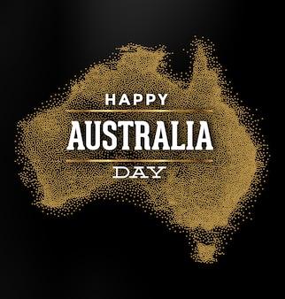 Feliz día de australia - diseño de mapas con brillo dorado