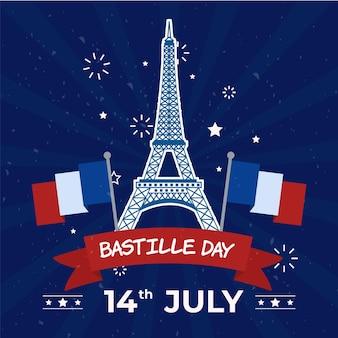 Feliz día de la bastilla torre eiffel y banderas