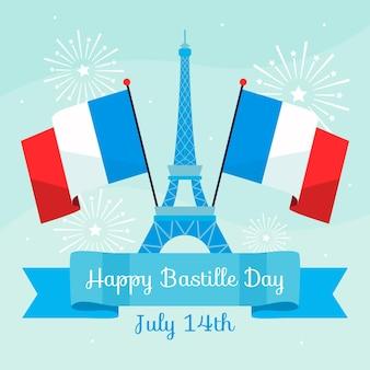 Feliz día de la bastilla con torre eiffel y banderas