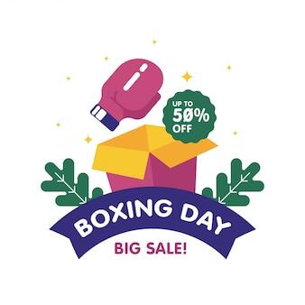 Feliz día de boxeo venta web banner ilustración