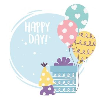 Feliz día, caja de regalo globos fiesta sombrero ilustración