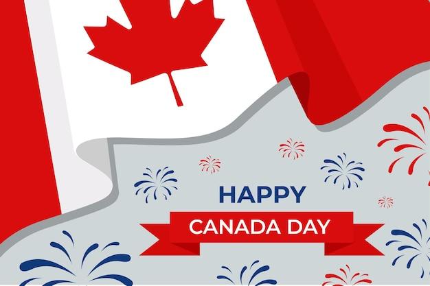 Feliz día de canadá con bandera y fuegos artificiales