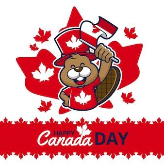 Feliz día de canadá con castor y bandera