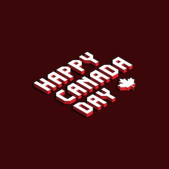 Feliz día de canadá diseño de banner con letras isométricas
