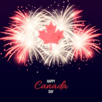Feliz día de canadá con fuegos artificiales