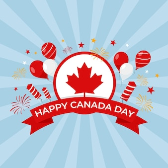 Feliz día de canadá con globos y fuegos artificiales