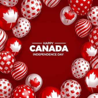 Feliz día de canadá con globos realistas