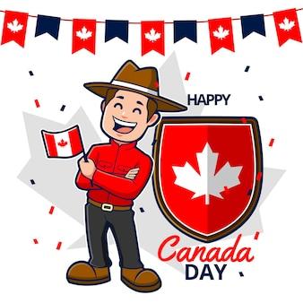 Feliz día de canadá con guardabosques y bandera