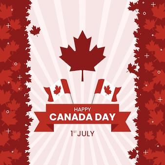 Feliz día de canadá con hojas de arce y banderas