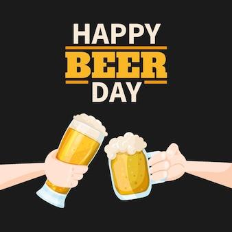 Feliz día de la cerveza brindando con jarras
