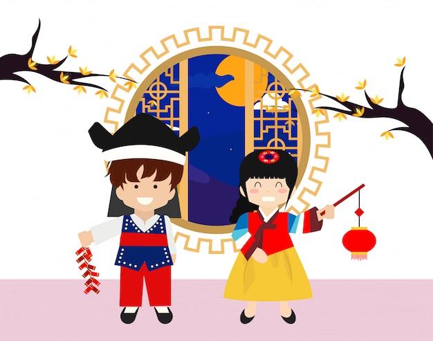 Feliz día de chuseok niños ilustración
