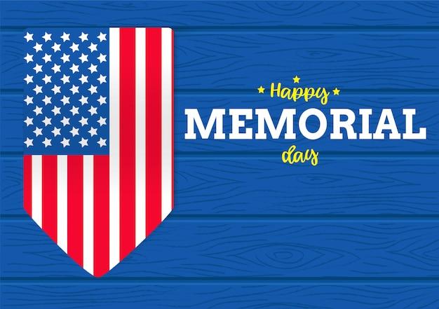 Feliz día conmemorativo en el fondo de madera y la bandera de américa