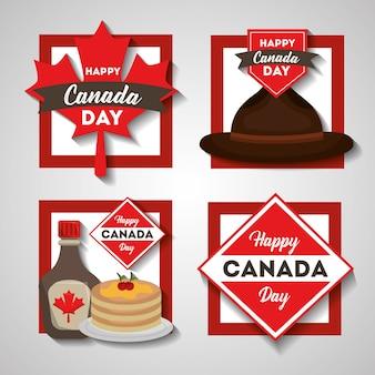 Feliz día de canadá establece símbolos de comida de bandera