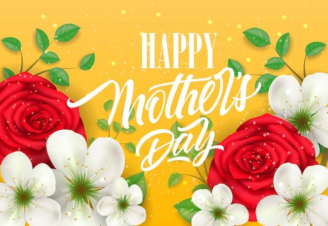 Feliz día de la madre letras con flores sobre fondo amarillo. tarjeta de felicitación del día de madres