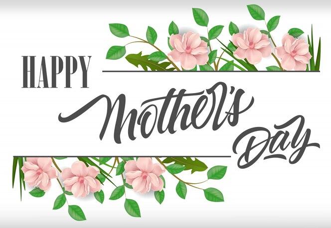 Feliz día de la madre letras con plantas y flores de color rosa. tarjeta de felicitación del día de madres