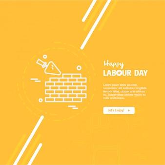 Feliz día del trabajo de diseño con vector de tema amarillo