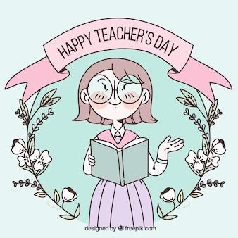 Feliz día de los docentes en colores pastel con una corona de flores