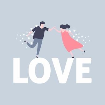 Feliz día de los enamorados con una encantadora pareja.