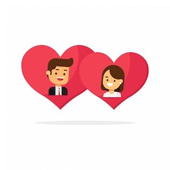 Feliz día de los enamorados, hombre y mujer enamorados en dos corazones juntos.